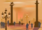 In orange city landscape — Stock Vector