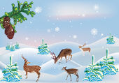 Four deers between snow firs — Stock Vector