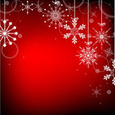 Red background with white snowflakes half frame — Stock Vector