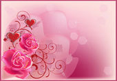 Coeurs rouges et illustration de roses roses — Vecteur