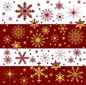 Red and gold snowflake bands — Stock Vector
