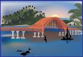 Orange bridge near hills with forest — Stock Vector
