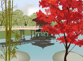 Pavilion in autumn park — Stock Vector