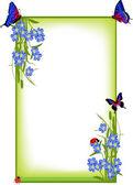 Quadro com flores de primavera azul e borboletas — Vetorial Stock