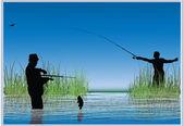 Twee vissers in water illustratie — Stockvector