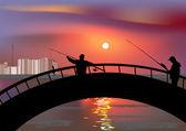 Two fishermen on bridge — Stock Vector