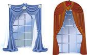 窗户和窗帘上白色隔离 — 图库矢量图片