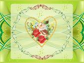 Décoration florale sur fond vert clair — Vecteur
