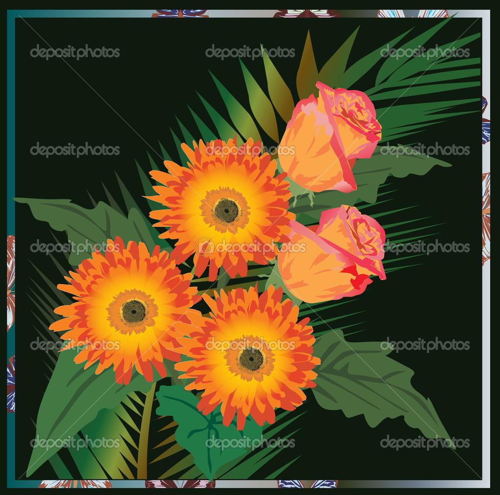 Цветы на темно зеленом фоне