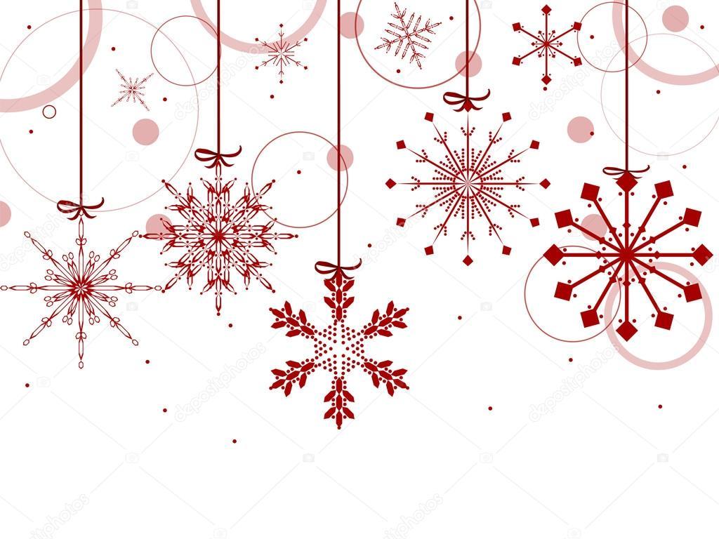 Fondo De Navidad Con Copos De Nieve Rojos