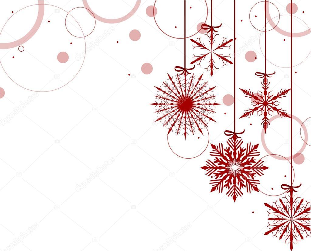 Composición De Navidad Con Copos De Nieve Rojos Sobre