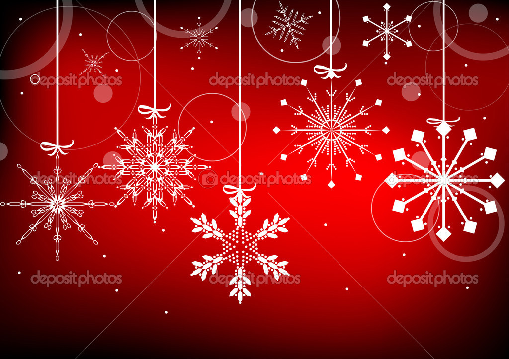Red And White Snowflake Christmas Background White Snowflakes on Red