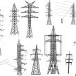 Set of electrical pylons isolated on white — Stock Vector
