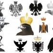 Set of isolated eagles in crowns collection — 图库矢量图片