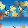 Stock Vector: Composition with two tits on golden maple