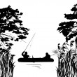 Fishermen in boat silhouette between trees — Stock Vector #24194111
