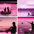 Stock Vector: Fishermen near rivers at sunset