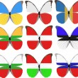 Stock Vector: Set of nine butterflies colored in national flags