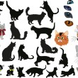 Stock Vector: Isolated cats collection illustration