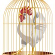 Rooster in cage isolated on white — Stock Vector