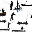 Stock Vector: Different fishermen collection isolated on white