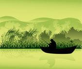 Fisherman in boat dark silhouette — Stock Vector