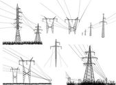 Electric towers set isolated on white — Stock Vector