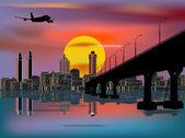Plane above modern city and bridge — Stock Vector