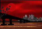 Bridge to modern city at red sunset — Stock Vector