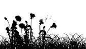 白で隔離される草シルエットのタンポポ — ストックベクタ