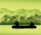 Fishermen in boat silhouette on forest lake — Stock Vector