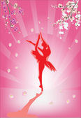Red ballet dancer and flowers — Stockvector