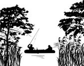 Fishermen in boat silhouette between trees — Stock Vector