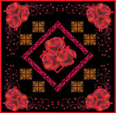 Black and red decorated square with roses — Stock Vector