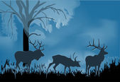 Three deers silhouette in blue forest — Stock Vector