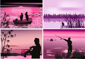 Fishermen near rivers at sunset — Stock Vector