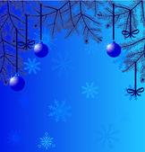 Blaue weihnachten abbildung mit tanne-niederlassungen — Stockvektor