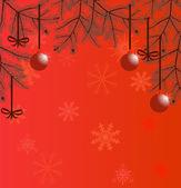 Çam dalları ile kırmızı christmas illüstrasyon — Stok Vektör