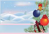 árbol de navidad verde y paisaje de invierno — Vector de stock