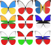 Set of nine butterflies colored in national flags — Stock Vector