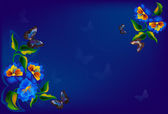 Dark blue butterflies and flowers design — Stock Vector