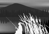 Grey night fishing illustration — Stock Vector