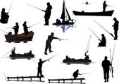 Different fishermen collection isolated on white — Stock Vector