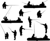 Fishermen in silhouettes collection isolated on white — Stock Vector