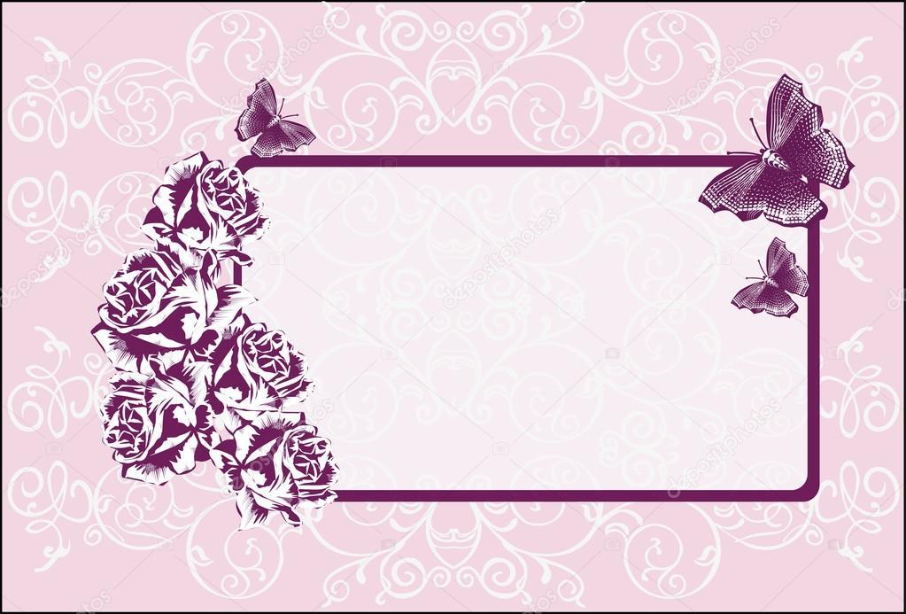 黑玫瑰帧上浅粉红色背景