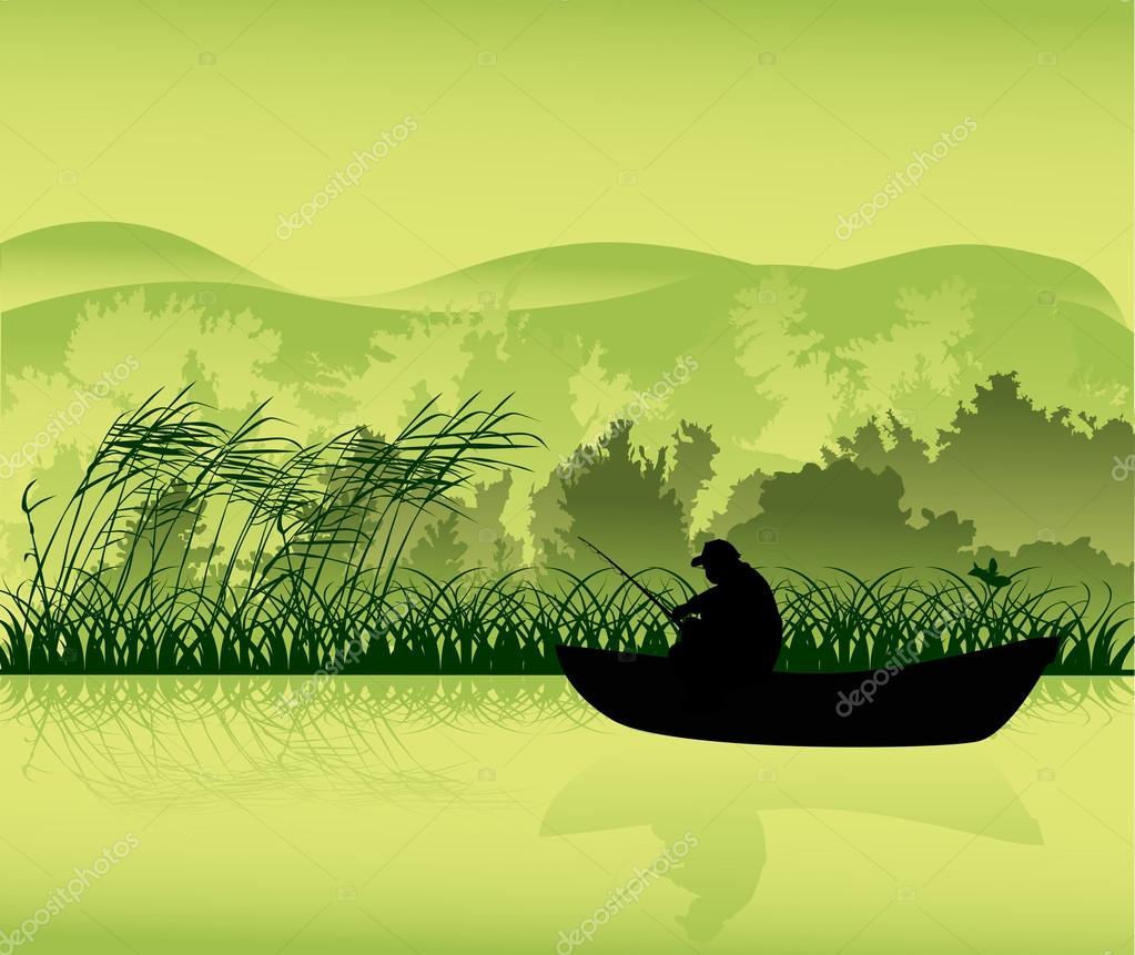 силуэт человек в лодке