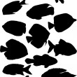 Thirteen black isolated fishes — Stock Vector