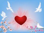 Quatre colombes blanches près de coeur rouge — Vecteur