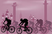 Cyclist silhouettes in cuty — Stock Vector