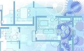 Dům plán modré pozadí — Stock vektor